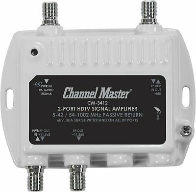 Channel Master CM 3412 2Port Ultra Mini Distribution Amplifier
