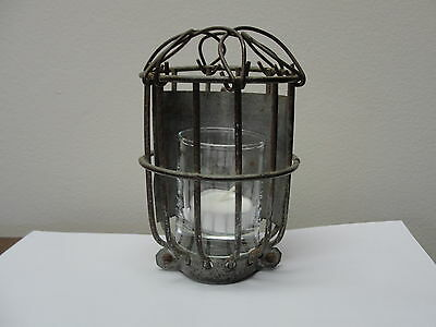 Vintage Metal Wire Trouble Light Cage Industrial Steel Wire Repurpose