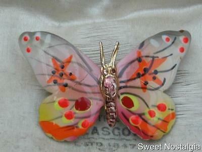Pretty Vintage 60/70's Pink Yellow & Orange Cold Painted Enamel Butterfly Brooch
