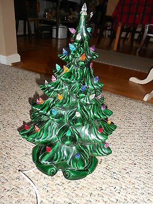 "Vtg Atlantic Mold 17"" Ceramic Christmas Tree w/Base 2 Piece On/Off Switch"