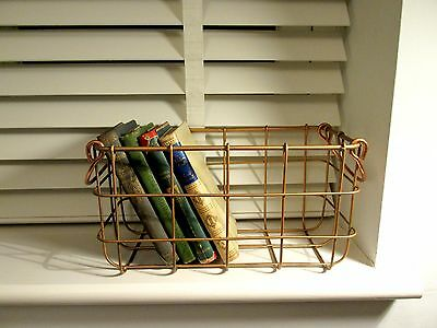 Copper Rose Gold Wire Storage Basket Box Organiser With Handles Rustic
