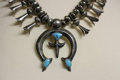 Signed Navajo Coin Silver and Turquoise Squash Blossom Vintage Heavy Necklace