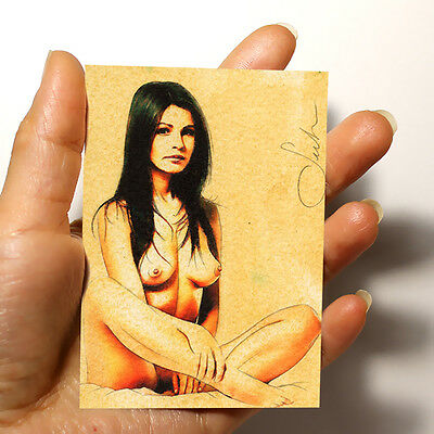 "FANTASTIC ORIGINAL ART PICTURE WATERCOLOR PAINTING ""NUDE FEMALE"" ACEO signed"