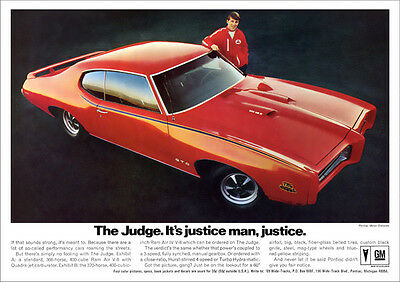 Pontiac Gto The Judge Muscle Car 69 Retro A3 Poster Print From Advert 1969