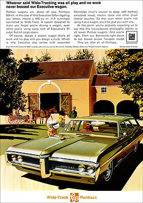 Pontiac 68 Executive Safari Station Wagon Retro A3 Poster Print From Advert 1968