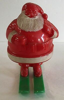 "Vintage Hard Plastic Santa Claus With Skis Christmas Candy Container 4 3/8"" Tall"