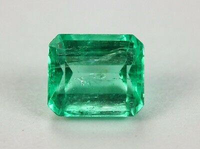 1.30 Carats Ideal Green Color Natural Colombian Emerald Cut!