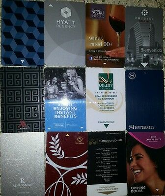 Lot of 12 Hotel room key cards. All different.