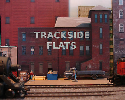 #334 O scale background building flat   SMALL FACTORY   *FREE SHIPPING*
