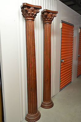 """Antique Solid Mahogany Carved Fluted Columns. 82""""tall. Mantel Fireplace Parts."""