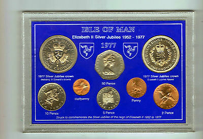 1977 Isle Of Man 8 coin set inc both Jubilee & Appeal crowns