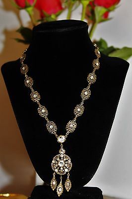 Antique Victorian Signed Czechoslovakia Brass Crystal Glass Necklace NC