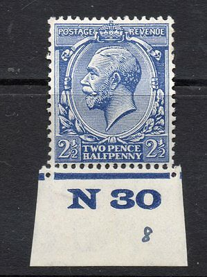 King George V 21/2P Blue  With Margin And Control Number N30 Mounted Mint