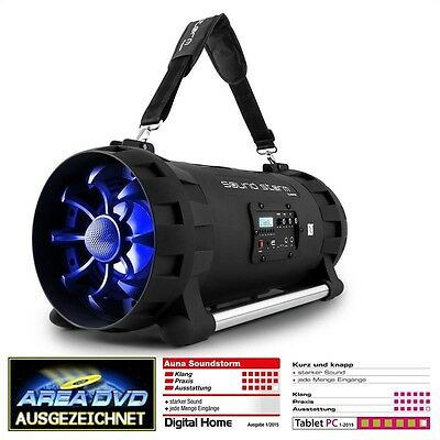 Auna Soundstorm Battery-Powered Bluetooth Speaker Boombox 1000W Max.
