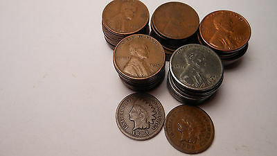 50 Wheat Cents & 2 Indian Cents 10 Steel Cents In The 50 Wheat Cents,