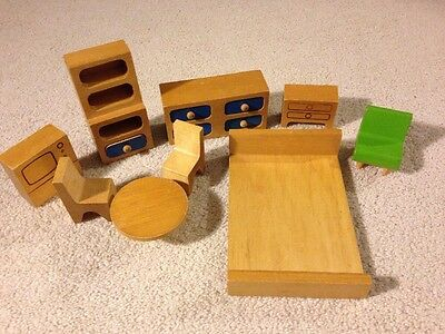 Creative Playthings Wooden Dollhouse Furniture Lot 14 PCS  Finland 1960 Vintage