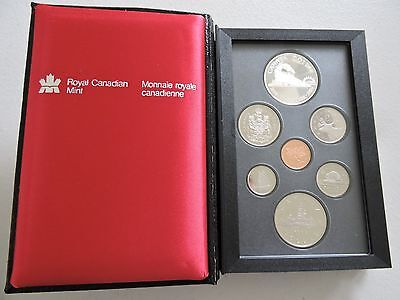 1986 Canada - 7 Coin Proof Set - Contains Both Silver & Nickel Dollars - In Box