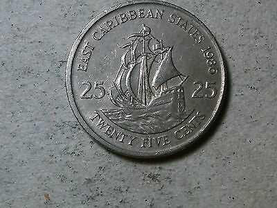 East Caribbean States 25 cents 1986 Ship coin