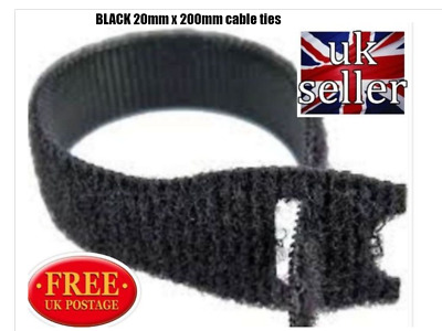 Genuine Velcro® Brand One-Wrap Re-Usable Hook & Loop Strapping Cable Ties Black