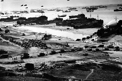 New 4x6 WWII Photo: Landing Ship after D-Day at Normandy, Operation Overlord