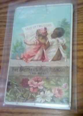 Vintage Black Americana Advertising Card Five Bros. Tobacco Tale Of Two Cities