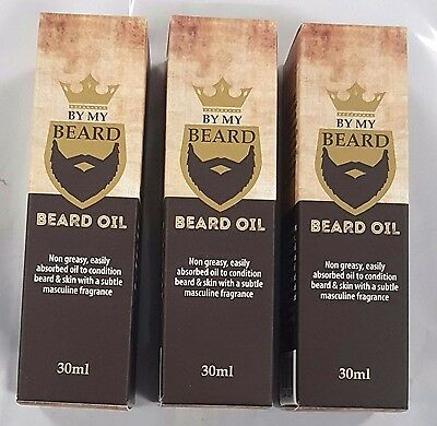3 x 30ml BY MY BEARD Beard Oil Non Greasy , Masculine Frangrance , Soft Hair New