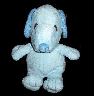 """12"""" Ty Pluffies 2011 Baby Snoopy Blue Plush Peanuts Musical Theme Song Soft Toy"""