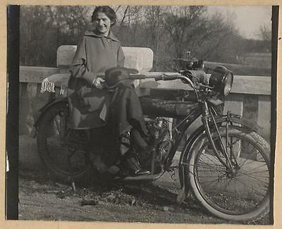 GIRLFRIEND on OLD INDIAN MOTORCYCLE vtg photo