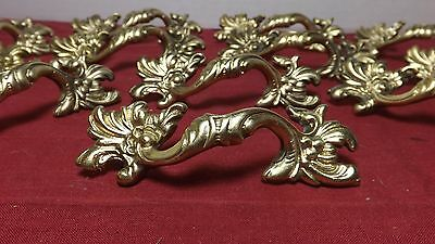 """Beautiful Vintage set of 12 French Solid Brass Drawer Knobs Pulls Embossed """"NICE"""