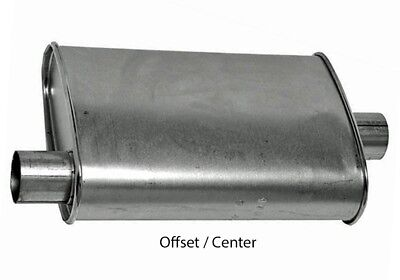 "Turbo Muffler 2.50"" Dia Offset Inlet 2.50"" Dia Center Outlet 4.00 X 9.00 Oval 18"