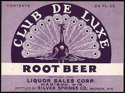 Vintage soda pop bottle label CLUB DE LUXE ROOT BEER Madison Wisconsin unused