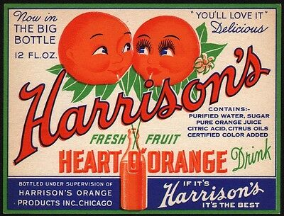 Vintage soda pop bottle label HARRISONS HEART O ORANGE cartoon oranges Chicago