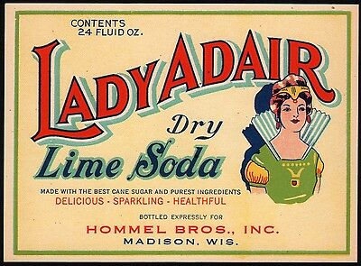 Vintage soda pop bottle label LADY ADAIR DRY LIME SODA woman pic Madison Wisc