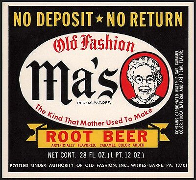 Vintage soda pop bottle label MAS OLD FASHION ROOT BEER Wilkes Barre PA n-mint+
