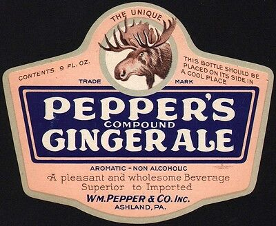 Vintage soda pop bottle label PEPPERS GINGER ALE 9oz die cut moose picture nrmt+