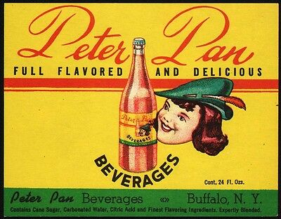Vintage soda pop bottle label PETER PAN BEVERAGES Buffalo NY new old stock nrmt+
