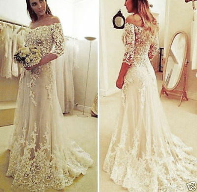 2017 White/Ivory Lace Wedding Dress Bridal Gown Custom Size 4 6 8 10 12 14 16 ++