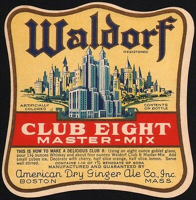 Vintage soda pop bottle label WALDORF CLUB EIGHT skyscrapers pictured Boston MA