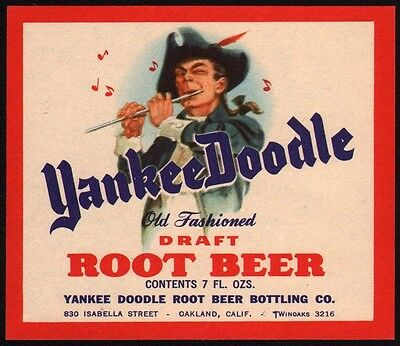 Vintage soda pop bottle label YANKEE DOODLE ROOT BEER Oakland California n-mint+