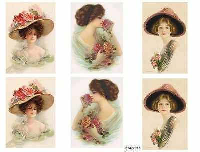 NeW! MoRe BeaUTiFuL ViCToRiaN LaDY PorTraiTs SHaBbY WaTerSLiDe DeCALs