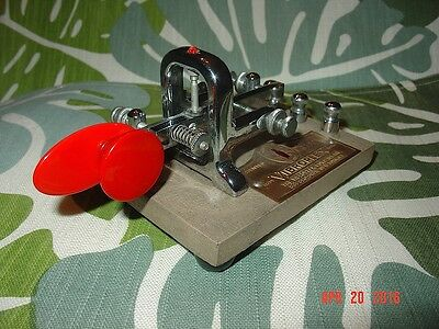 1961 Vibroplex Vibro-Keyer Paddle 833 Broadway SN 218867 Light Brown & Red Paddl