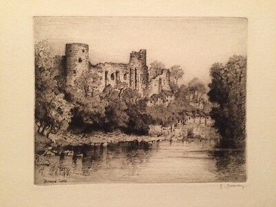 Barnard Castle - George Goodway Pencil Signed Antique English Etching
