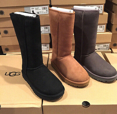 Auth. UGG Classic Tall 11 #1016224  Black Chestnut Gray Sizes 6-10 NIB Sale!!