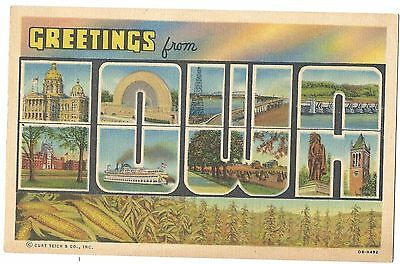 Large Letter Linen Greeting IOWA