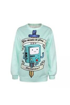 """Adventure Time Bmo Sweater Pullover Unisex """"who Wants To Play Discogames?"""""""