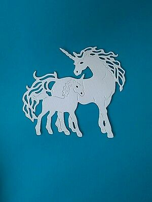 Tattered lace Unicorn Mother & baby die cuts x 10