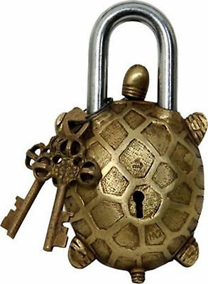 Antiques Turtle Shaped Functional Brass Turtle Padlock with Two Keys