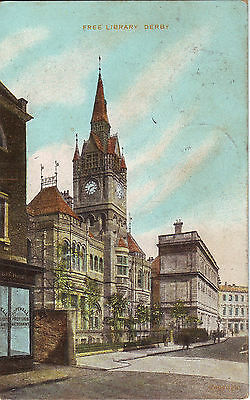 UK Derby - Free Library 1910 USA mailed postcard