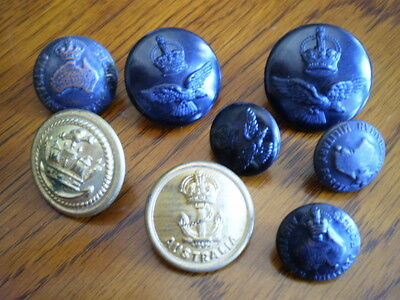 WW1/2 Australian military Navy RAAF uniform/tunic button lot AIF