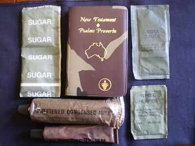 Vintage Australian army ltems camo bible, army rations